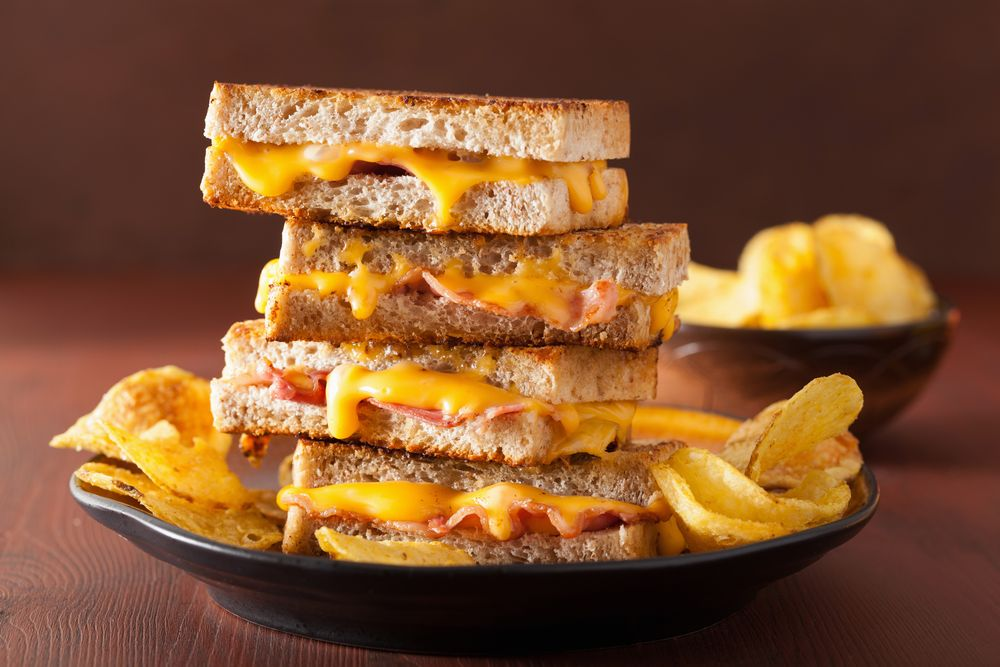 Grill cheese with ham and bacon