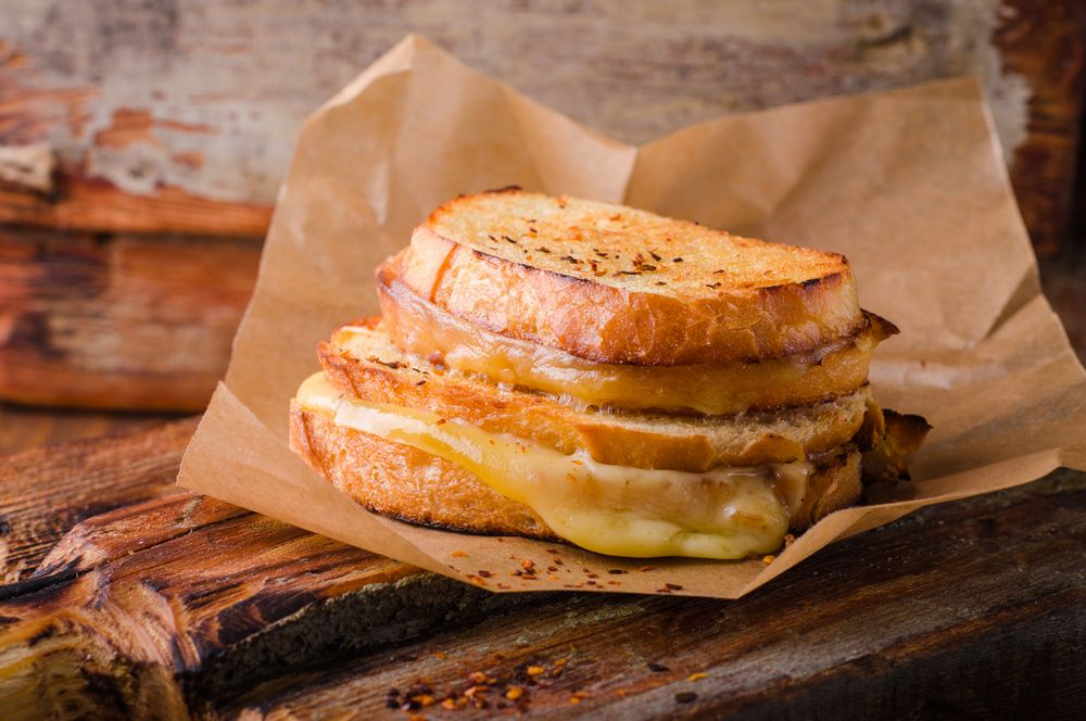 Two Story Grilled Cheese with Paper Wrap