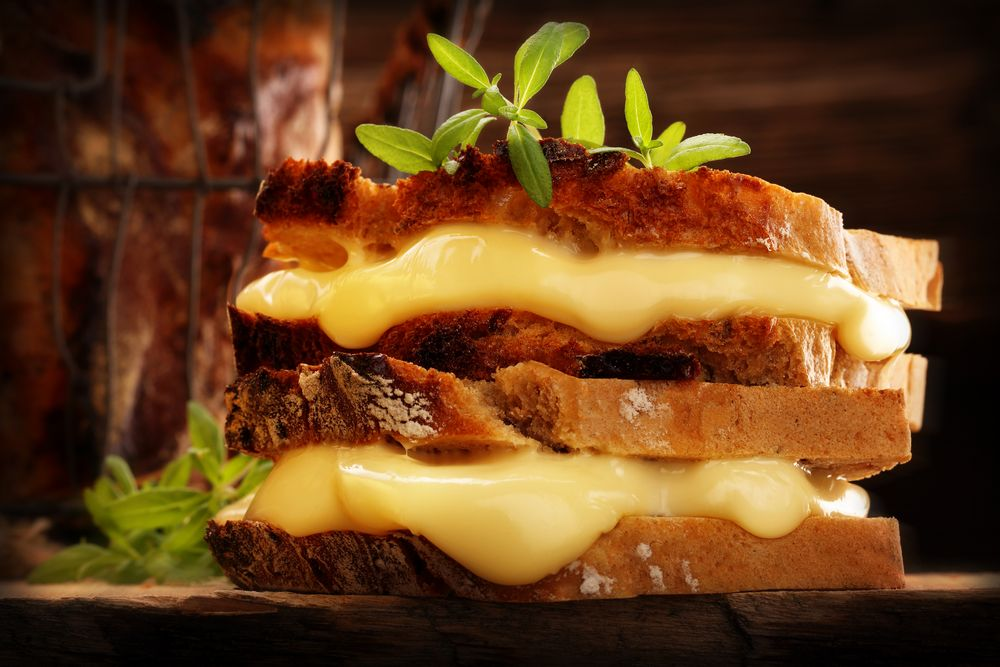 Mega Sized Grilled Cheese with Lots of Melted Cheese