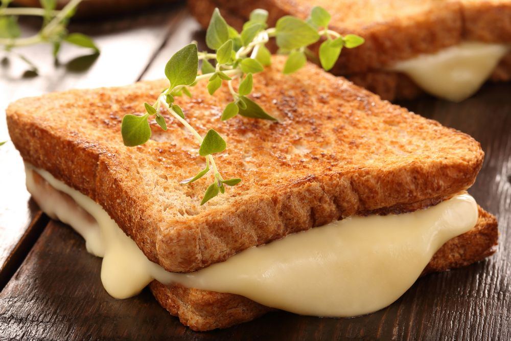 White, Melted Cheese on Bread